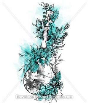 Floral Flower Music Guitar Watercolor Sketch
