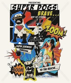 Retro Pop Art Comic Superhero Dogs