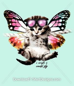 Cute Kitten Cat Butterfly Wings