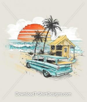 Retro Sunset Palm Beach Surfer Surfboard Car Sketch
