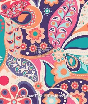 Large Retro Colorful Paisley Seamless Pattern