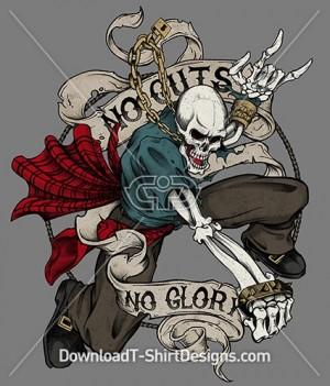 Pirate Skeleton Skull No Guts Not Glory Banner