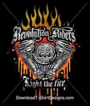 Revolution Riders Metal Skull Engine Flames