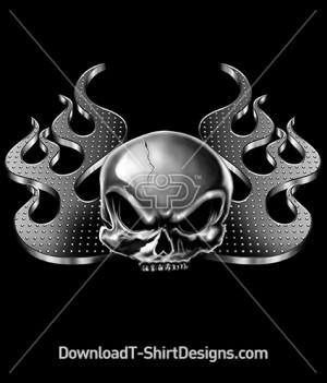 Metal Chrome Skull Flame
