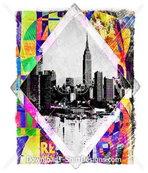 Colorful Abstract Collage City Landscape