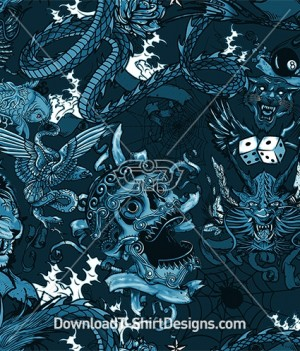 Tattoo Banner Skull Dragon 8 Ball Koi Fish Seamless Pattern